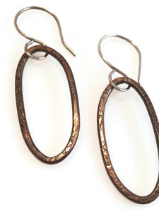 Copper dangle earrings on sterling silver hooks