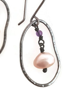 Sterling silver, freshwater pearls and amethyst earrings.