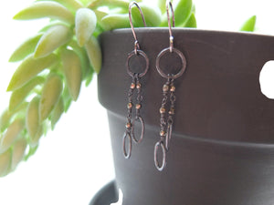 Sterling silver and pyrite handmade dangle earrings