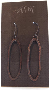 Hand forged Copper with sterling silver hook dangle earrings