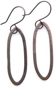 Hand-forged copper dangle earrings