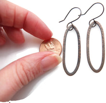 Load image into Gallery viewer, Hand forged Copper with sterling silver hook dangle earrings