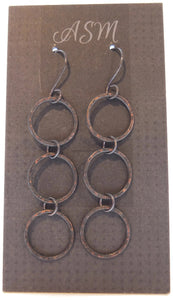 Dangle handcrafted copper and sterling silver earrings