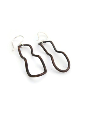 Hand forged copper earrings with sterling silver hooks