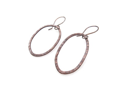 Copper forged earrings on silver hooks