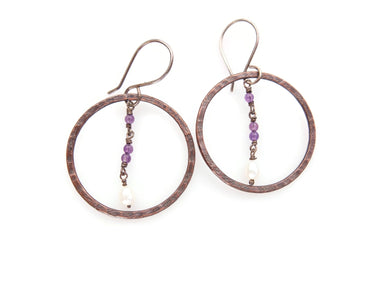 Fresh water pearls, amethyst, copper and silver earrings