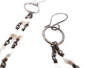 Fresh water pearls and sterling silver, long dangle earrings