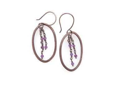 Amethyst, Copper and sterling silver earrings