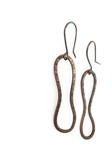 Handcrafted copper earrings on sterling silver hooks