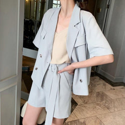 BGTEEVER Summer Women Short Suits Short Sleeve Jacket Blazer & Sashes Shorts Loose Female Blazer Suit 2 Pieces Set 2020