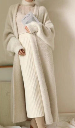 BGTEEVER Elegant Loose Women Open Stitch Sweater Ladies Thick Warm Oversized Knitted Cardigans 2020 Autumn Winter Midi Coat