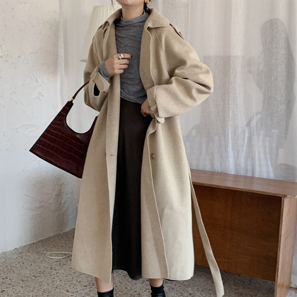 BGTEEVER Winter Single-breasted Lace-up Woolen Coats Women Turn-down Collar Pockets Female Overcoats Vintage Blend Coat Femme