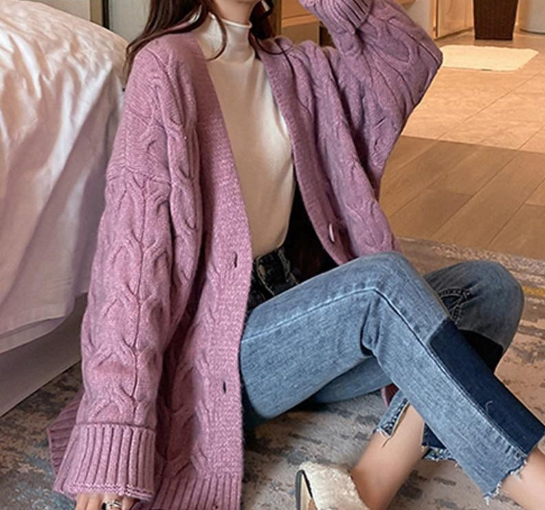 BGTEEVER Chic Autumn Winter Thick Loose Women Twisted Open Stitch Sweater 2020 V-neck Single-breasted Female Knitted Cardigans