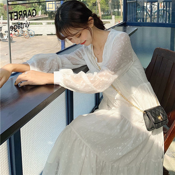 BGTEEVER V-neck Polka Dot Women Chiffon Dress Lace Up Waist Full Sleeve Female Long Vestidos A-line White Dress Femme 2020