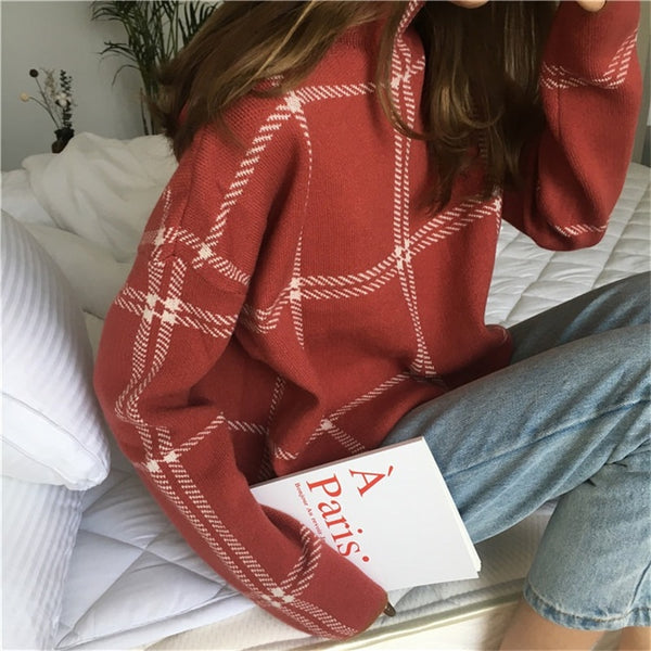 2020 Autumn Winter Plaid Women Sweater Half-turtleneck Warm Minimalist Knitting Pullovers Female Elegant Knitted Tops Jumpers