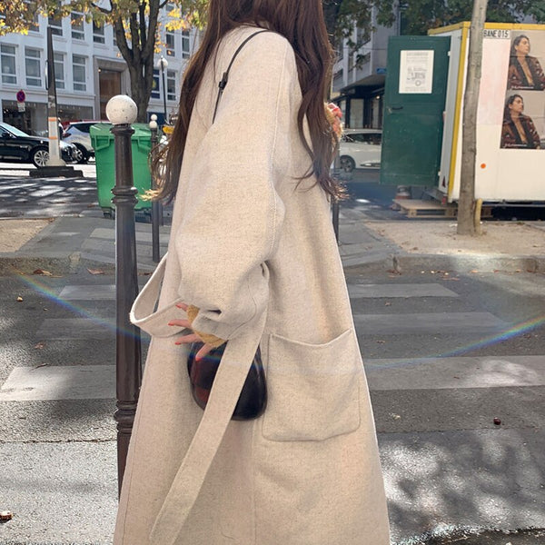 BGTEEVER Casual Loose Women Blend Coat Single-breasted Sash Belt Female Long Tweed Coats Autumn Winter Ladies Overcoats 2019