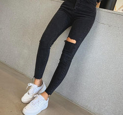 BGTEEVER Stylish Black Skinny Jeans Women Streetwear High Waist Ripped Holes Pencil Jeans Stretchable Female Denim Jeans 2019