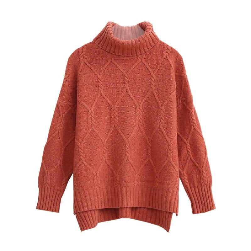 BGTEEVER 2020 Turtleneck Side Split Women Thicken Knitted Pullovers Autumn Winter Warm Loose Twisted Sweater Jumpers Female Tops
