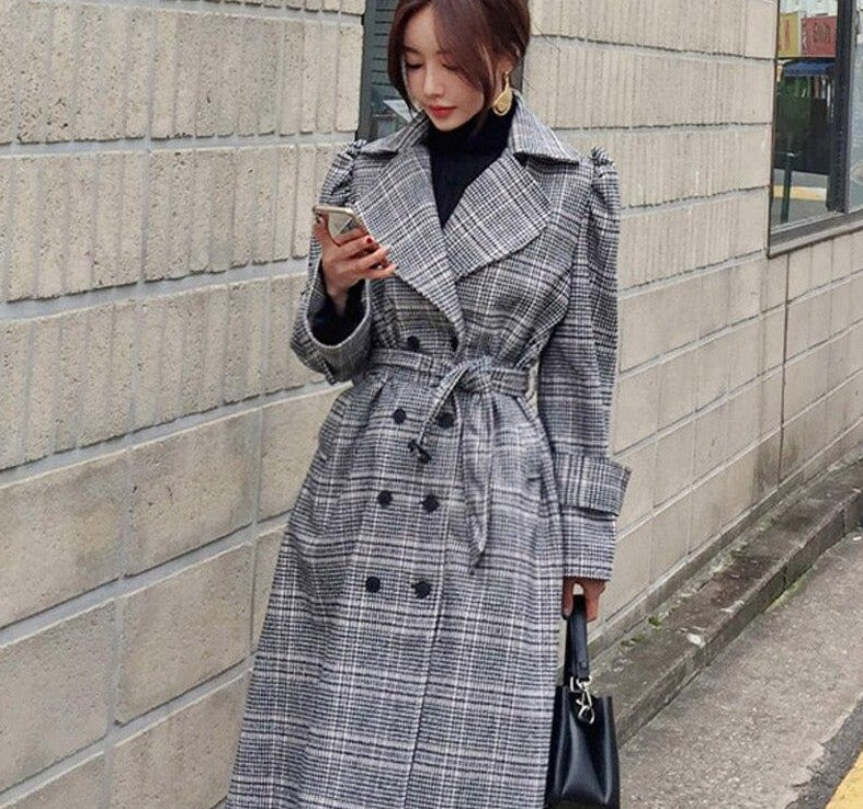 BGTEEVER Office Wear Plaid Women Long Overcoats Winter Warm Belted Ladies Woolen Coats Female Double-breasted Loose Outwear 2019