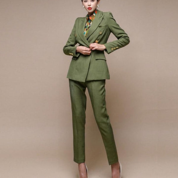 Fashion Green Women Blazer Set Double-breasted Slim Jacket & Pencil Pant Women Pant Suit Ladies Work Suit Female 2 Piece Set