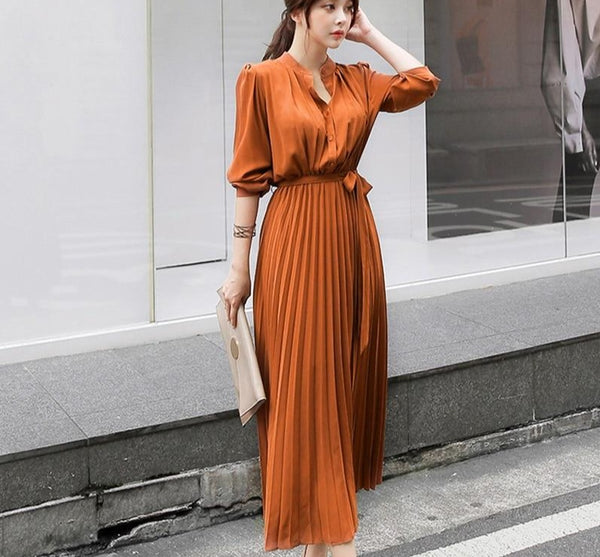 BGTEEEVR Elegant Single Breasted Women Pleated Dresses Full Sleeve Slim Waist A-line Dresses Casual Female Long Vestidos 2019