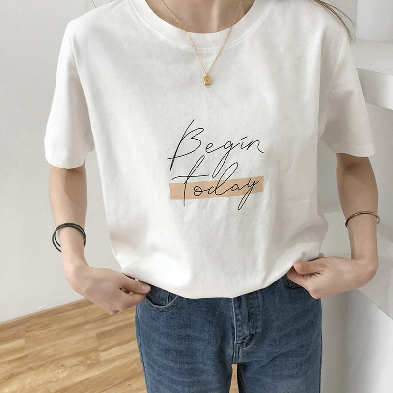 BGTEEVER Casual O-neck Letter Print Women T-shirt 2020 Summer Short Sleeve Loose Cotton Female Basic Tops Shirt Ladies Tees