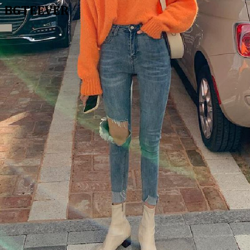 BGTEEVER Streetwear High Waist Women Jeans Ripped Holes Female Skinny Jeans Pants Stretched Vintage Denim Pencil Jeans 2019