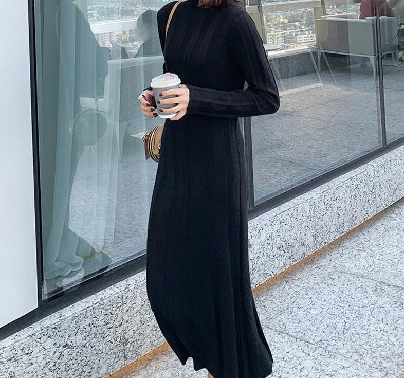 BGTEEVER Turtleneck Women Knit Straight Dress Autumn Winter Thick Warm Knitting Midi Dress Female Ribbed Knitted Vestidos 2020