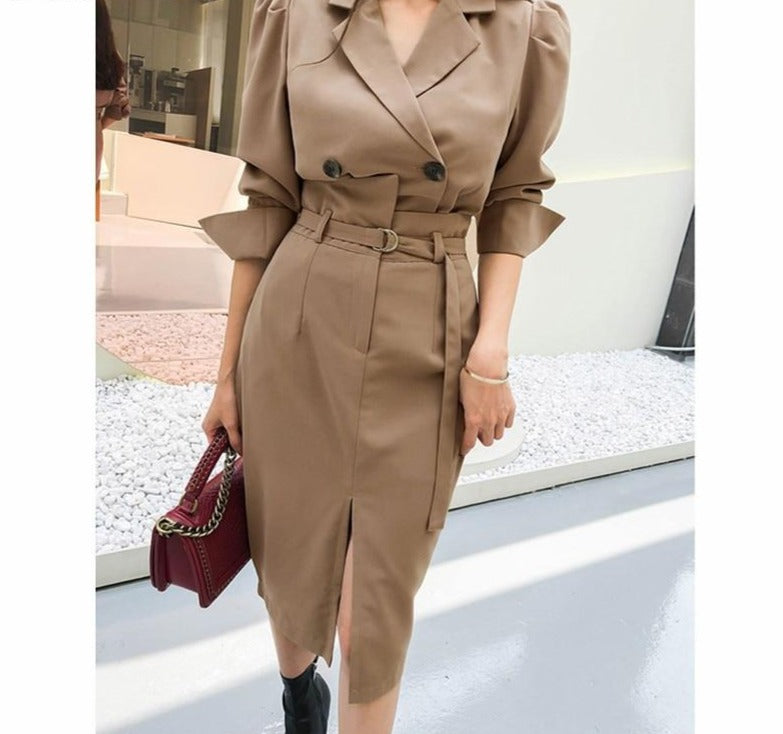 BGTEEVER Stylish Female Skirt Suits Double Breasted Short Blazer & High Waist Belted Midi Skirt Autumn Female 2 Pieces Set 2020