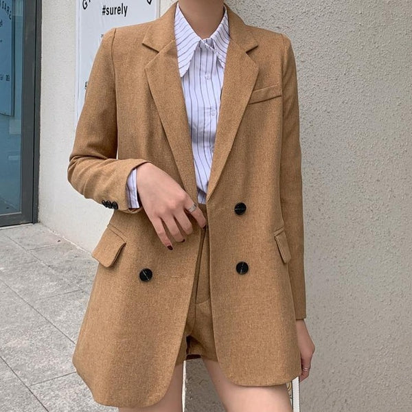 BGTEEVER Summer Women Short Suits Notched Lace Up Jacket & Slim Shorts 2020 Elegant 2 Pieces Set Female Blazer Set