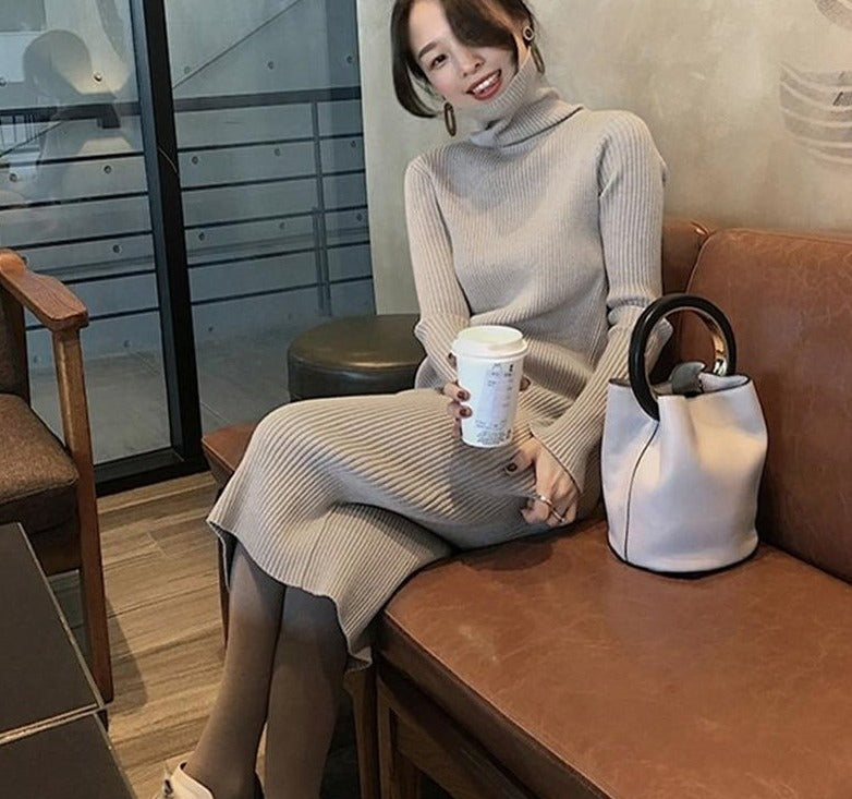 Autumn Winter Thicken Women Sweater Dress Turtleneck Full Sleeve Knitted Pullovers Vestidos Female Midi Knitted Dress 2019