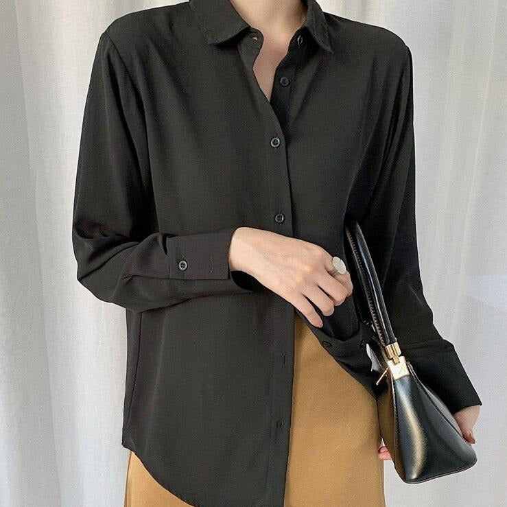 BGTEEVER Vintage Chiffon Shirts Loose Front Button Turn-down Neck Blouse Women All-match Womens Tops and Blouses blusa feminina