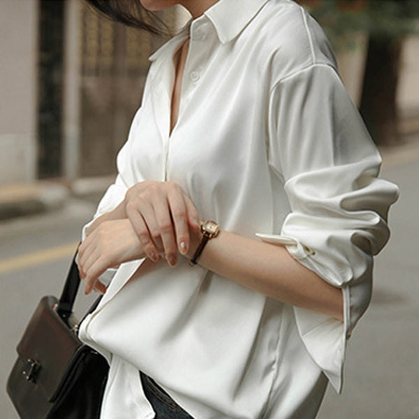 BGTEEVER Elegant Turn-down Collar Women Stain Blouses Office Ladies Tops Single-breasted Loose Female Shirts Blusas Mujer 2020