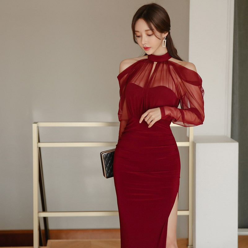 BGTEEVER Elegant Halter Patchwork Women Party Dress Cold-shoulder Side Split Female Long Party Dress Slim Waist Vestidos Femme