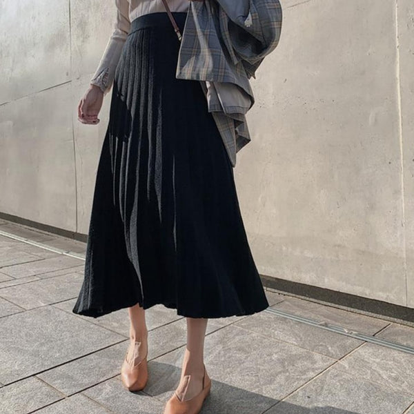 BGTEEVER Thick Warm Loose Women Knitted Pleated Skirts Casual High Waist Midi Sweater Skirts Autumn Winter Female A-line Skirts