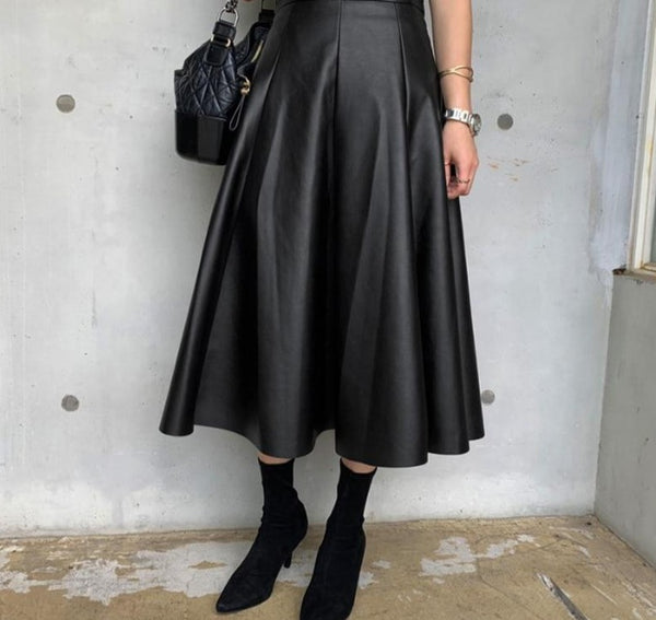 BGTEEVER Black Solid PU Leather Elegant Midi Skirt Women 2020 Spring High Waist Office Ladies A Line Flared Skirts Faux Leather