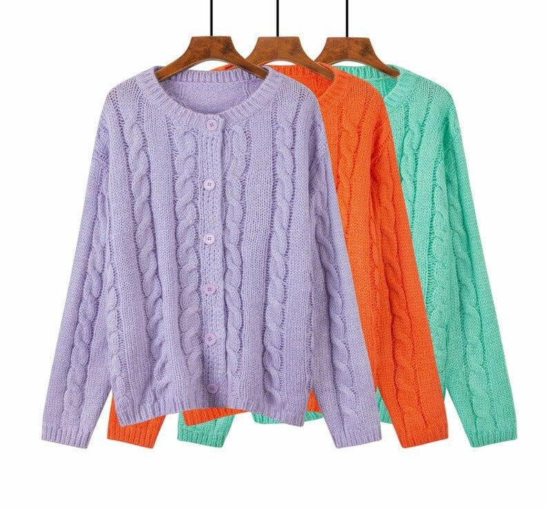 BGTEEVER Vintage Romance Ladies Twisted Knitted Cardigans Purple O-neck Single-breasted Long Sleeve Women Sweater 2020 Autumn