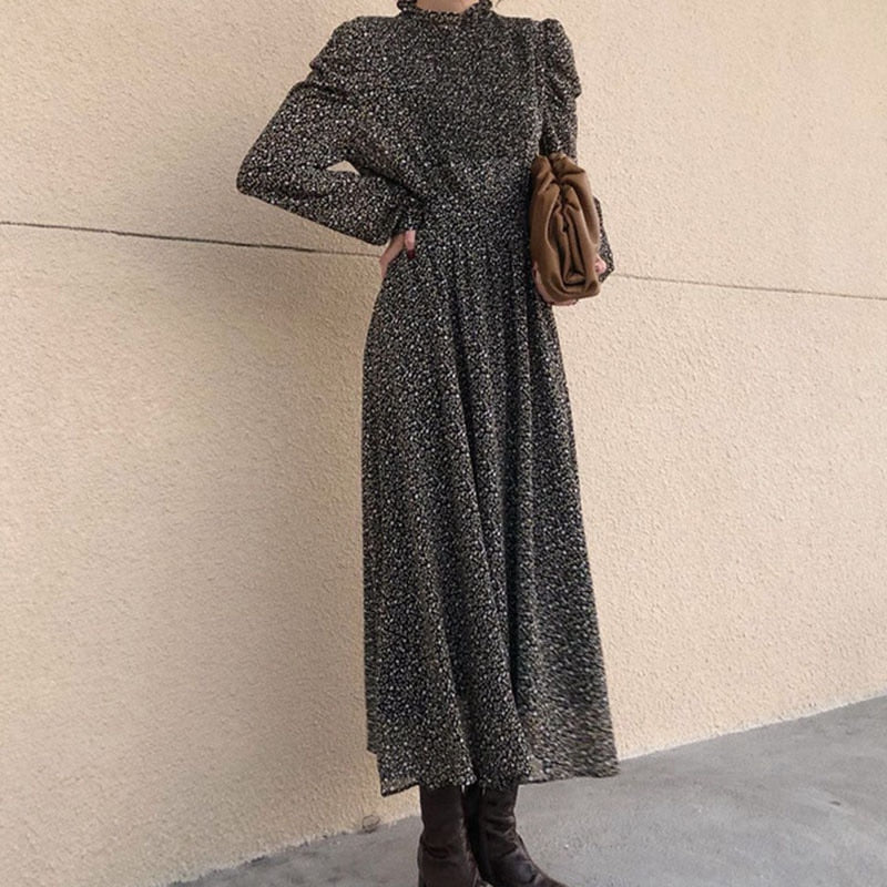 BGTEEVER Vintage Stand Collar Ruched Sleeve A-line Dress Women Floral Print Elastic Waist Female Dress Spring Vestidos femme 202
