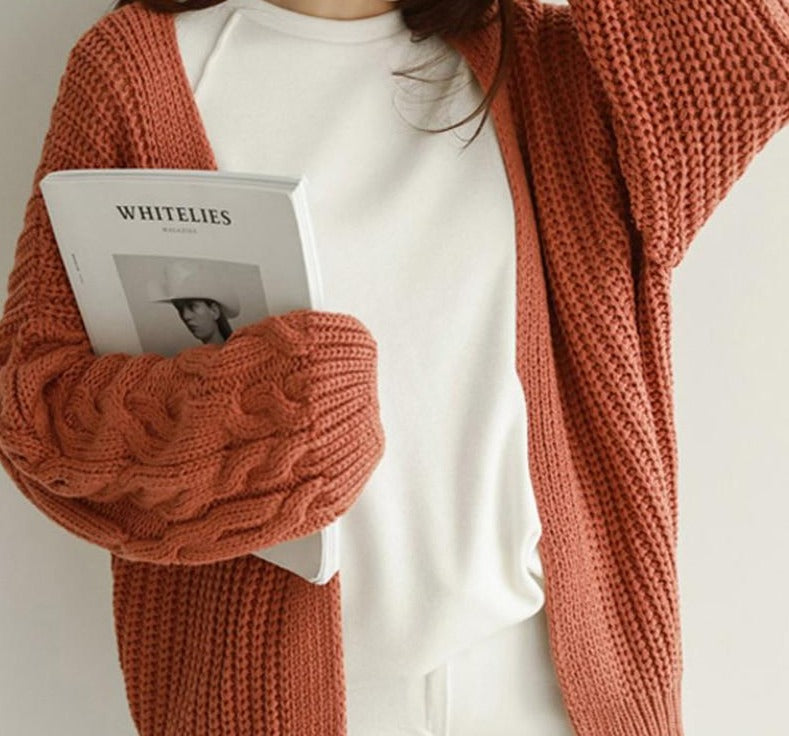 BGTEEVER Casual Loose Women Twisted Open Stitch Cardigan 2020 New Autumn V-neck Long Sleeve Loose Female Knit Cardigans Sweater