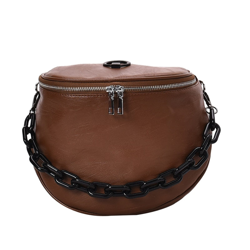 Solid color leather ladies bag 2019 new fashion shoulder bag wide shoulder strap Messenger bag retro soft leather shopping bag