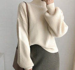 BGTEEVER 2020 New Lantern Sleeve Winter Sweater Women Turtleneck Loose Knitted Pullover Jumpers Female Striped Knit Tops (apricot One Size)