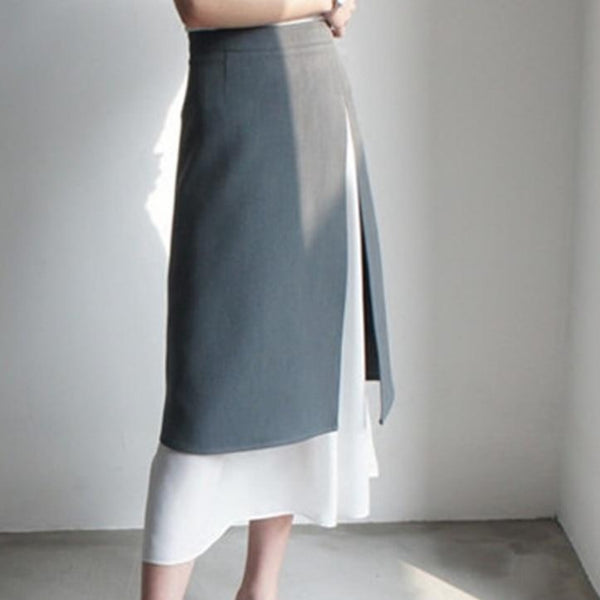 BGTEEVER Elegant Office Wear High Waist Split Women Skirts Summer Patchwork A-line Midi Skirts Female 2020