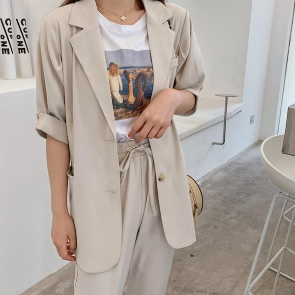 BGTEEVER Summer Women Pant Suits Short Sleeve Jacket & Elastic Waist Pant 2020 Female Blazer Set Casual 2 Pieces Set Femme