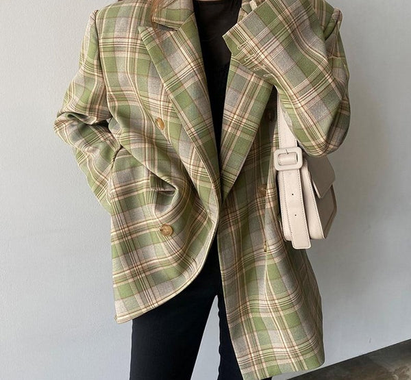 BGTEEVER Vintage Loose Women Plaid Blazer 2020 Autumn Chic Double Breasted Female Long Sleeve Suit Jackets Stylish Ladies Blazer