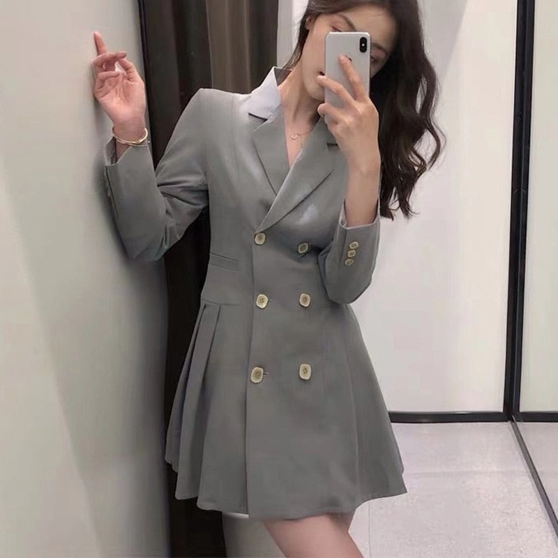 BGTEEVE Elegant Double-breasted Women Blazers Long Sleeve Spring Female Suit Jackets Office Ladies Pleated Suit Blazer 2020