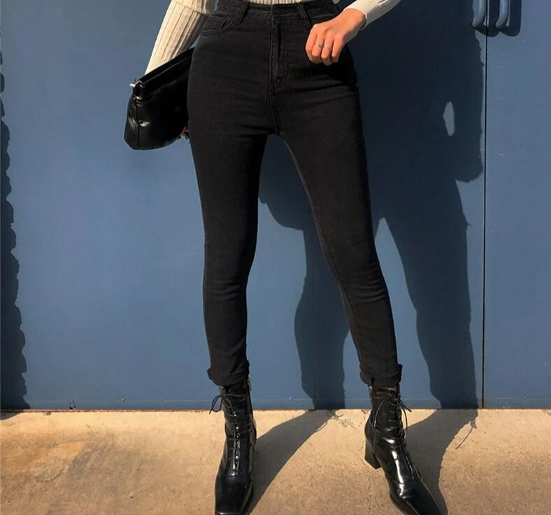 BGTEEVER Stretch Black Skinny Jeans Women Ripped Holes High Waist Jeans Female Hip Package Capris Pencil Denim Jeans femme 2019