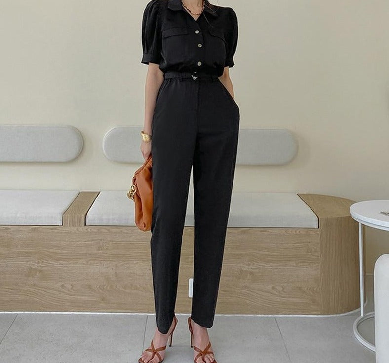 BGTEEVER Office Ladies Jumpsuit Summer Short Sleeve Single-breasted Belted Straight Leg Women Playsuit Overalls Female Rompers