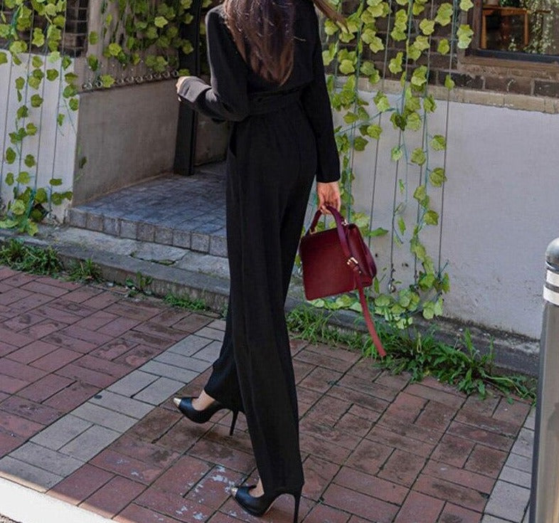 BGTEEVER Office Wear Ladies Playsuit Notched Collar V-neck Belted Slim Waist Female Jumpsuit Rompers Autumn Loose Overalls 2020