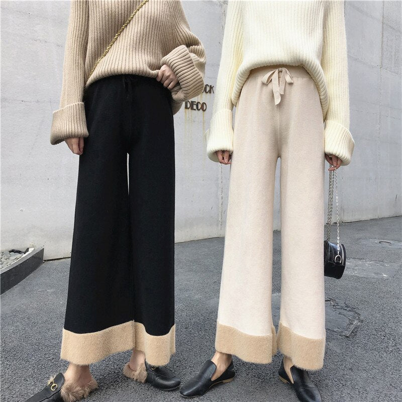 BGTEEVER 2019 Winter Loose Wide-legged Pants Women Patchwork Color Knitted Pants Female Casual High Waist Lace-up Trousers