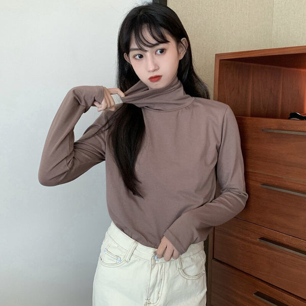 BGTEEVER Korean Candy Color Blouses Tops Women 2019 Autumn Turtleneck Cotton Long Sleeve Shirts Female Loose Basic Tops femme